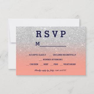 Silver faux glitter navy coral ombre RSVP wedding