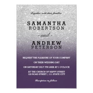 Silver faux glitter purple chic ombre wedding invitation