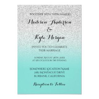 Silver Faux Glitter Teal Blue Ocean Ombre Wedding Invitations
