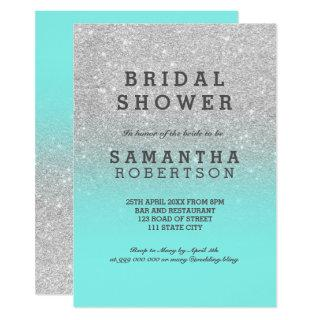 Silver faux glitter teal ocean chic bridal shower invitation