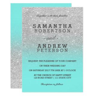 Silver faux glitter teal ocean ombre chic wedding invitation