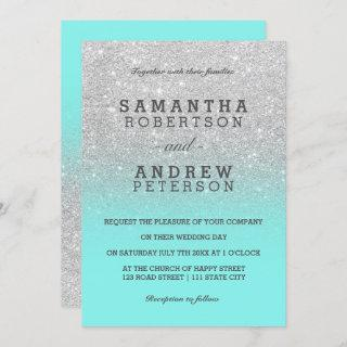 Silver faux glitter teal ocean ombre chic wedding Invitations