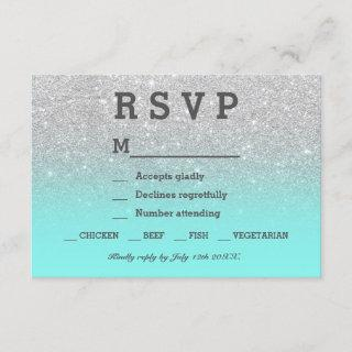 Silver faux glitter teal ombre RSVP wedding