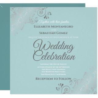 Silver Filigree Elegant Light Teal Square Wedding Invitation