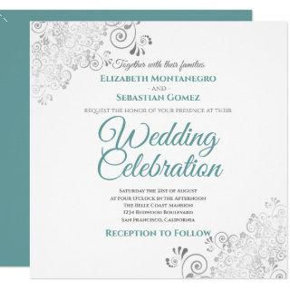 Silver Filigree Elegant Teal & Gray Square Wedding Invitation