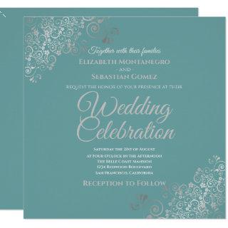 Silver Filigree Elegant Teal Square Wedding Invitation