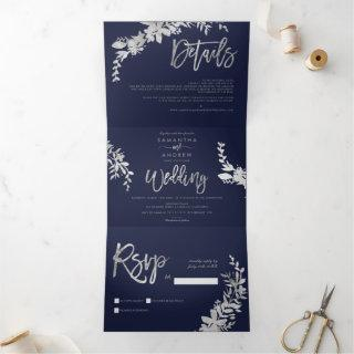Silver Floral elegant script navy blue wedding Tri-Fold Invitation