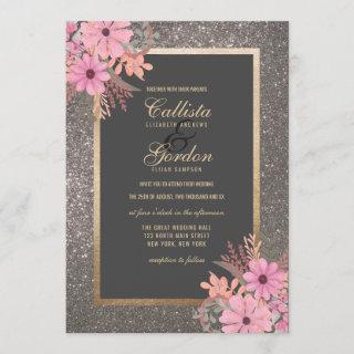 Silver Floral Leaves Watercolor Glitter Wedding
