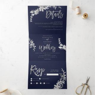 Silver Floral navy blue elegant script wedding Tri-Fold Invitation
