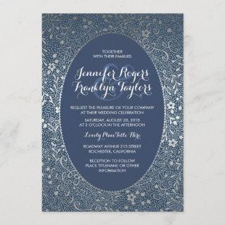 Silver Floral Vintage Navy Wedding Invitations