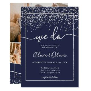 Silver foil navy blue photo initials wedding Invitations