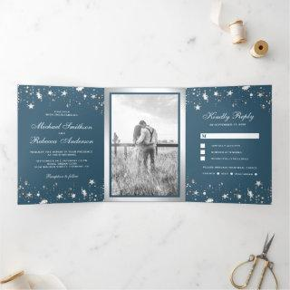 Silver Foil Stars Confetti Dusty Blue Wedding Tri-Fold Invitations