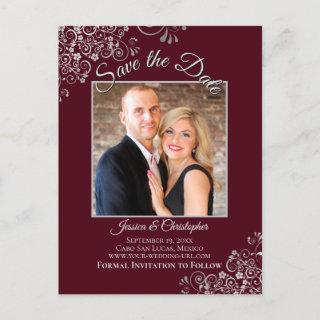 Silver Frills Burgundy Wedding Save the Date Photo Announcement Postcard