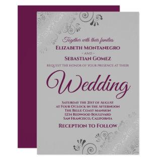 Silver Frills Cassis Purple on Gray Wedding Invitations