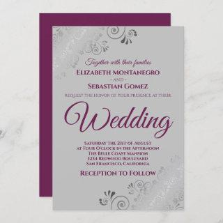 Silver Frills Cassis Purple on Gray Wedding Invitation