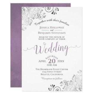Silver Frills Elegant Lavender on White Wedding Invitations