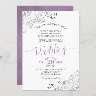 Silver Frills Elegant Lavender on White Wedding Invitation