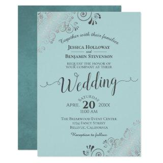 Silver Frills Elegant Mint Teal & Gray Wedding Invitations