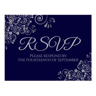 Silver Frills Elegant Navy Blue Wedding RSVP Postcard