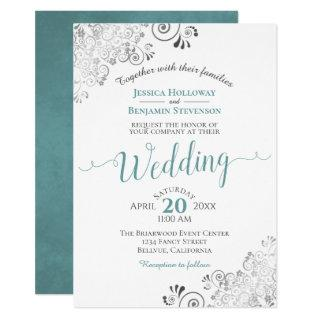 Silver Frills Elegant Teal & Gray on White Wedding Invitation