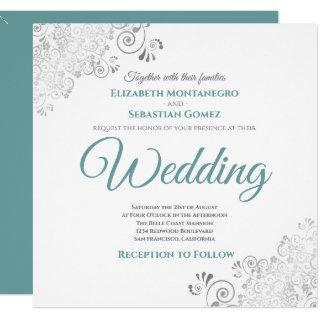 Silver Frills Elegant Teal & White Square Wedding Invitations