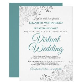 Silver Frills Elegant Teal & White Virtual Wedding Invitation