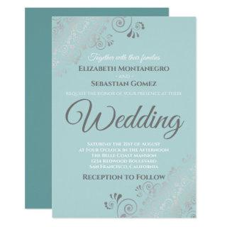 Silver Frills Light Teal and Gray Wedding Invitation