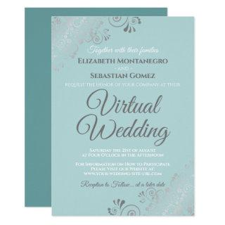 Silver Frills Pale Teal and Gray Virtual Wedding Invitation