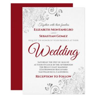 Silver Frills Red & Gray on White Wedding Invitations