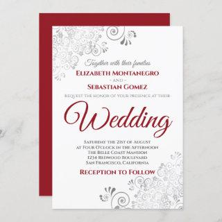 Silver Frills Red & Gray on White Wedding Invitation
