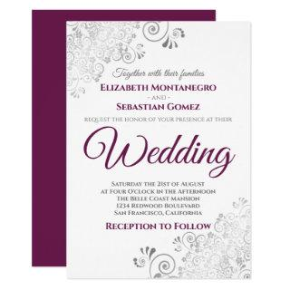 Silver Frills Simple Chic Cassis & Gray Wedding Invitation