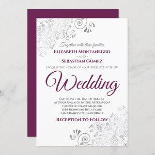 Silver Frills Simple Chic Cassis & Gray Wedding Invitations