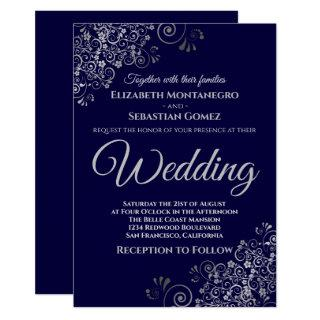 Silver Frills Simple Chic Navy Blue Wedding Invitations