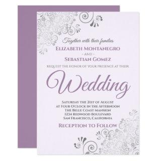 Silver Frills Simple Chic Purple and Gray Wedding Invitation