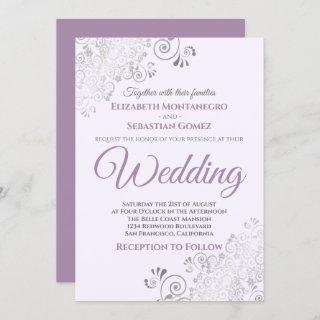 Silver Frills Simple Chic Purple and Gray Wedding Invitations