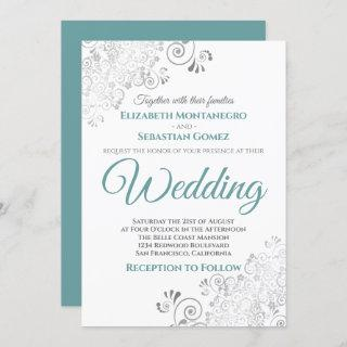 Silver Frills Simple Chic Teal and Gray Wedding Invitations
