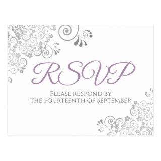 Silver Frills Simple Elegant Purple Wedding RSVP Postcard