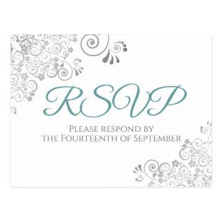 Silver Frills Simple Elegant Teal Wedding RSVP Postcard