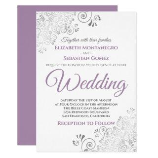 Silver Frills Simple Purple Gray & White Wedding Invitation