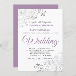 Silver Frills Simple Purple Gray & White Wedding Invitations