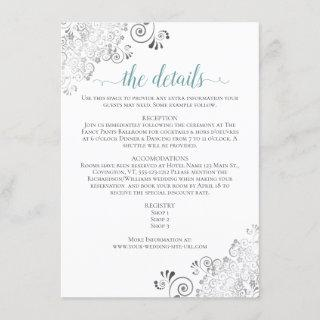 Silver Frills Teal on White Wedding Details Enclosure Card