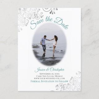 Silver Frills w/ Photo Teal Wedding Save the Date Announcement Postcard