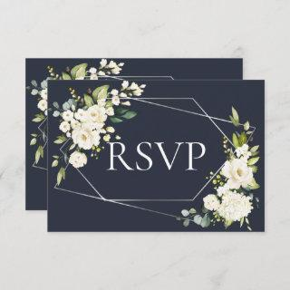 Silver Geometric Blue White Floral No Menu RSVP