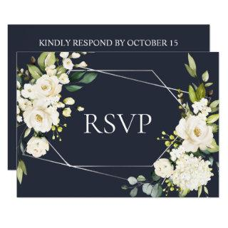 Silver Geometric Blue White Floral Wedding RSVP Invitations