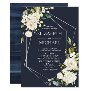 Silver Geometric Navy Blue White Floral  Wedding Invitations