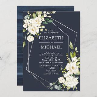 Silver Geometric Navy Blue White Floral  Wedding Invitation