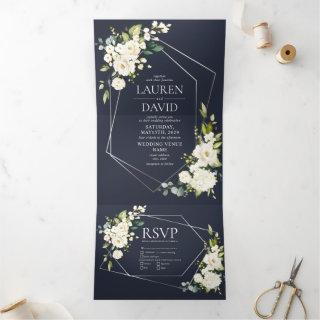 Silver Geometric Navy Blue White Floral  Wedding Tri-Fold Invitations