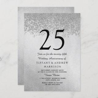 Silver Glitter 25th Wedding Anniversary Invitations
