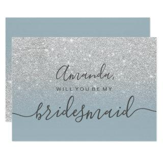 Silver glitter blue ombre script my bridesmaid Invitations