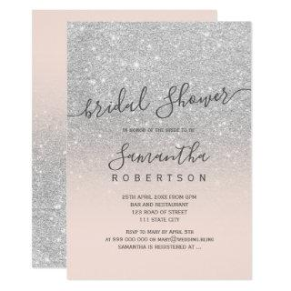 Silver glitter blush pink script bridal shower invitation